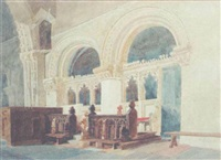 the chancel, walsaken church by miles edmund cotman