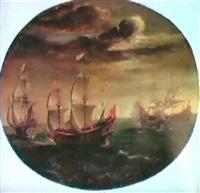 dutch men of war engaging turkish ships. by aert anthonisz