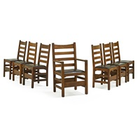 assembled set of ladderback dining chairs (6 works) by gustav stickley