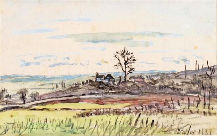 paysage et petit hameau by johan barthold jongkind
