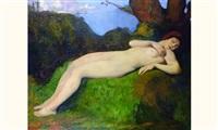 femme nue endormie dans un sous bois by louis léon eugène billotey