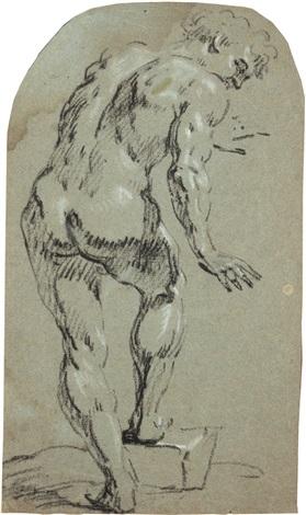 stehender nackter mann in ganzer figur nach rechts gewandt by michelangelo