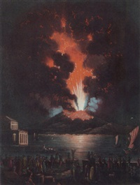 vesuvius erupting seen from the bay of naples by alessandro d' anna