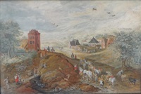 paysage avec paysans et charrettes by sybrand fietama
