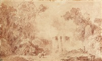 an italianate park with a large fountain and figures by jean honoré fragonard
