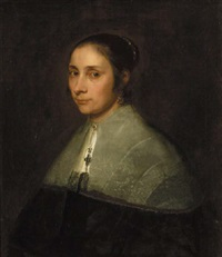 portrait of a lady in black costume with a white lace collar by jürgen ovens