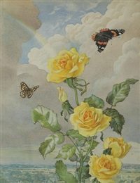 yellow roses with butterflies and rainbow by andrey avinoff