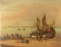 harbor scene with fishing boat by antonio fontanesi