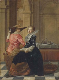 a young couple in an interior by dirck van delen and jan olis