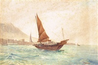 a junk in hong kong harbour by henry george gandy