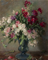 flowers in a glass vase by solomon garf