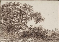 a windswept tree, with travellers on a dune beyond by adriaen hendricksz. verboom