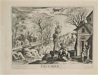 the months of the year (after antonio tempesta (1550-1630)) (set of 12) by hendrik hondius the elder