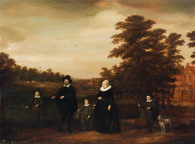familienporträt vor dem hintergrund eines bewaldeten tals by gerard van donck