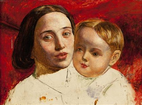 the artists sister and her child study by william holman hunt