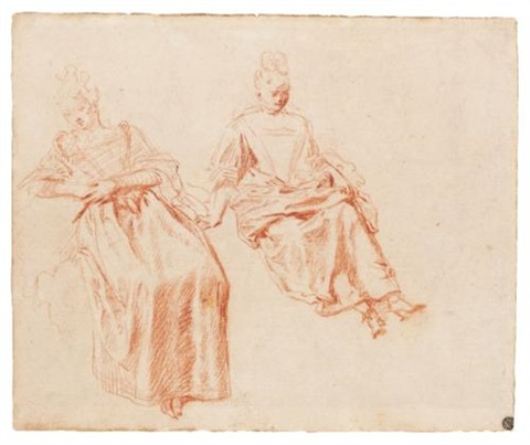 a seated woman studies peasants and other figures studies verso by jean antoine watteau
