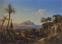vista della città di palermo e del monte pellegrino, firmato by johann georg gmelin