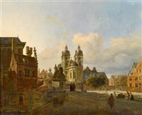 town scene with figures by johannes huibert (hendric) prins