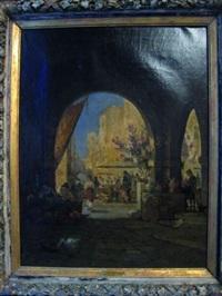scène de marché méditerraneen by jean d' alheim