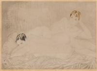 les deux amies (sold with 6b; set of 2) by léonard tsuguharu foujita