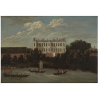 a view of syon house from the thames by robert griffier