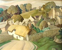 village landscape by harry epworth allen