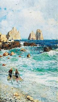 fischer am strand von capri mit den faraglioni by elviro raimondi
