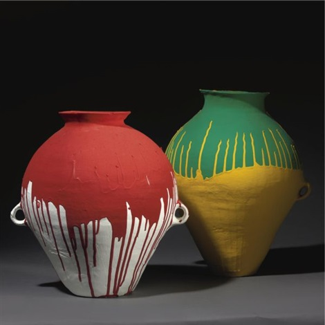 colored pots up down pair by ai weiwei