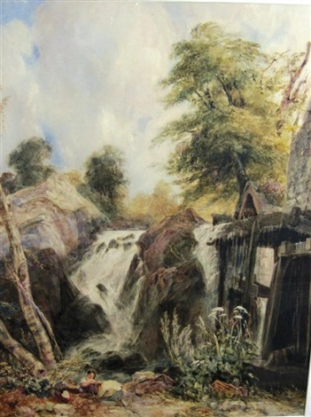 a child on a river bank by a mill a waterfall beyond penmachno north wales by samuel austin