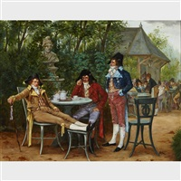 three officers at a tea party by charles louis kratke