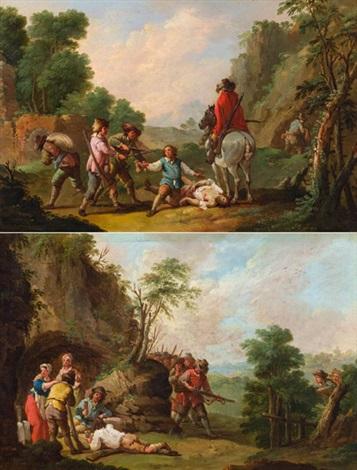 pendants landschaft mit straßenräubern und landschaft mit überfall auf ein trinkgelage pair by august querfurt