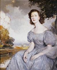 retrato de dama en un paisaje by fernando alvarez de sotomayor y zaragoza