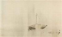 hanging scroll, ink on silk, of a boat in rain by shiokawa (shion) bunrin
