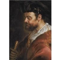 a tronie of a man in fantasy dress, en profile by adam camerarius