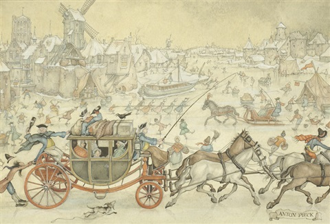 winter fun by anton pieck