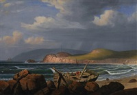 a wreck on the coast of new england by fitz henry lane