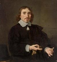bildnis eines herrn, der auf eine taschenuhr in seiner hand hinweist und einer dame, die einen fächer in der hand hält (pair) by jan victors