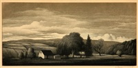 pennsylvania landscapes and old lyme church (4 works) by thomas willoughby nason