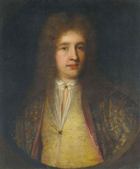 portrait of a gentleman in a green coat and yellow waistcoat, both with floral embroidery by william gandy