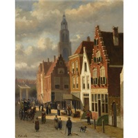 many figures in the streets of a dutch town by johannes frederik hulk the elder