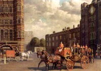 the royal coach outside st. james's palace by john leigh-pemberton