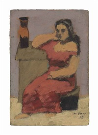 seated woman with vase by arshile gorky