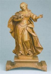 heilige magdalena in schreitender haltung mit einem totenschädel in der rechten hand by joseph gotsch