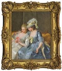 deux jeunes femmes lisant une lettre by pierre alexandre wille