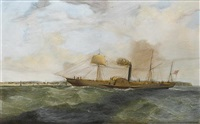 "the inward-bound paddlesteamer ""leinster lass"" approaching drogheda by william kimmins mcminn"