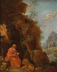 der heilige hieronymus mit dem löwen vor einer felsgrotte by david teniers the younger
