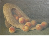 peaches spilling from a straw hat by hugo a. possner