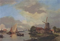 a summer landscape with ships in a waterway by adrianus david hilleveld
