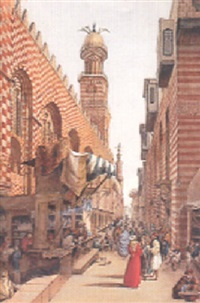 rue animée aux abords de la mosquée by louis vincent fouquet