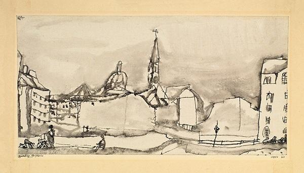 schwabing, peripherie - lücke in der clemensstrasse mit der ursulakirche by paul klee